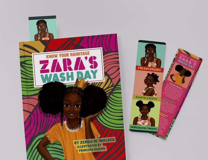 zara's wash day bookmark mockup image